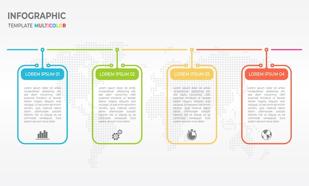 Opzioni di timeline 4 modello di progettazione linea sottile infografica.