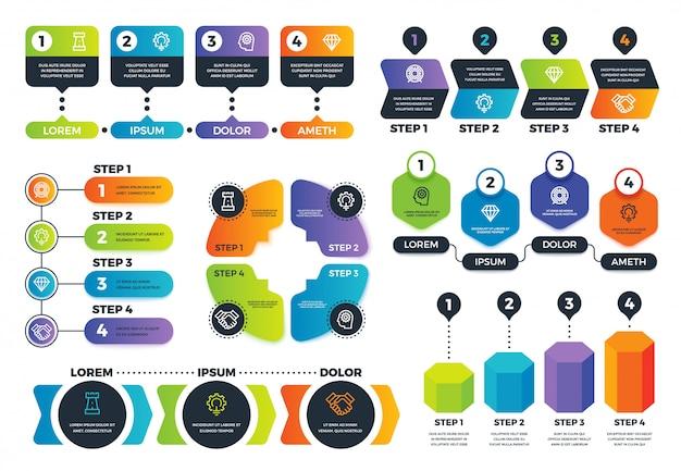 Opzioni infografiche. diagrammi a freccia, grafici di processo astratti e infografi di strategia con passaggi. modello di vettore di presentazione aziendale