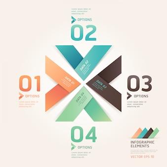 Opzioni moderne di numero di stile di origami della freccia per il layout di flusso di lavoro, diagramma, infographics.