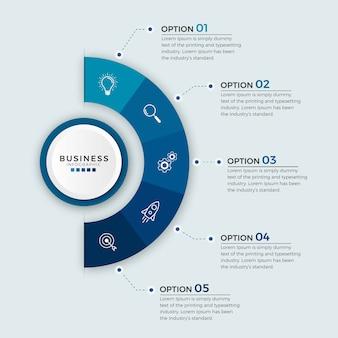 Opzioni o punti delle icone di progettazione di affari infographic