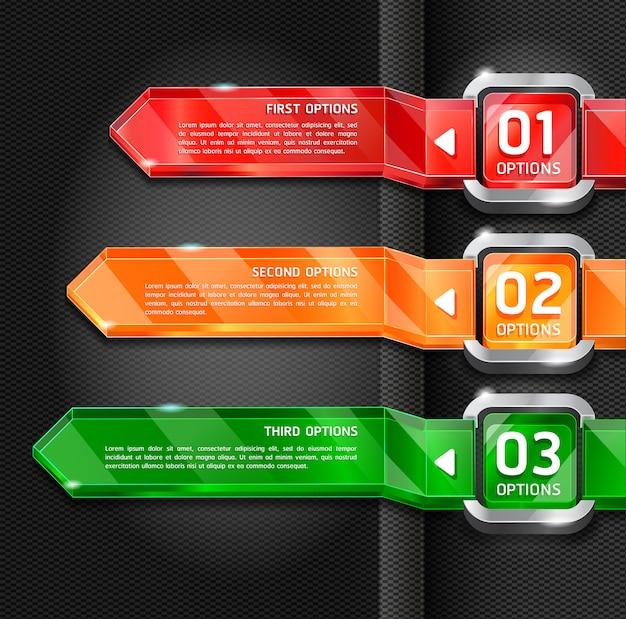 Opzioni variopinte di numero di stile del sito web dei bottoni fondo dell'insegna & della carta.