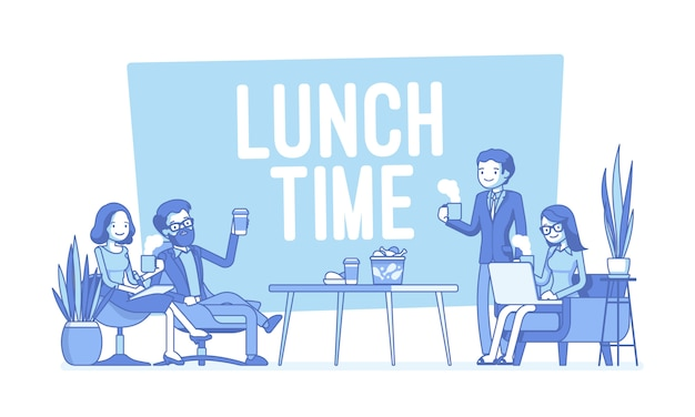 Ora di pranzo nell'illustrazione dell'ufficio