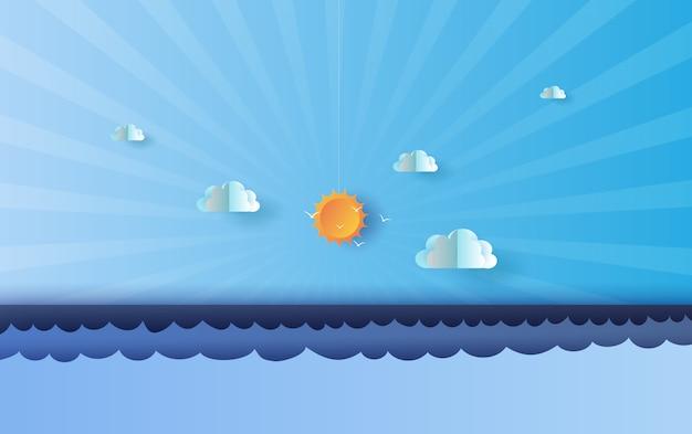 Ora legale paesaggio blu del mare e del cielo