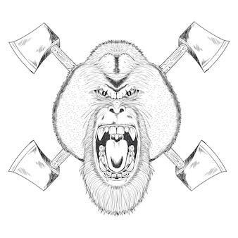 Orang arrabbiato utan con l'illustrazione di asce