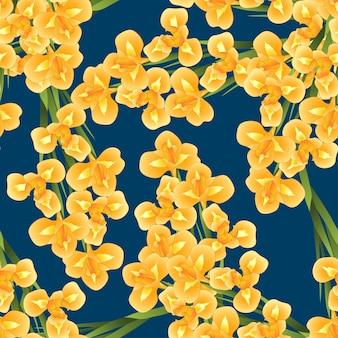 Orange iris flower su fondo blu navy