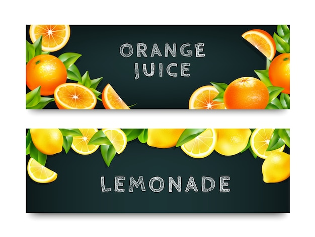 Orange juice lemonade 2 banners set