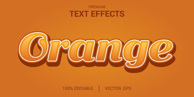 Orange text effect, set elegante effetto di testo arancione astratto, effetto di testo modificabile in stile arancione