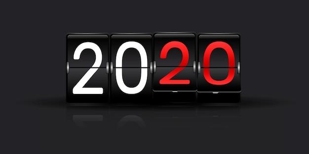 Orario aeroporto con numeri. capovolgere il conto alla rovescia con il numero dell'anno. conto alla rovescia. tabellone segnapunti meccanico del contatore del tempo trascorso.