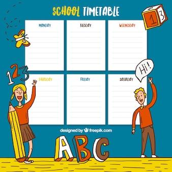Orario scolastico con disegnati a mano i bambini e gli elementi di scuola