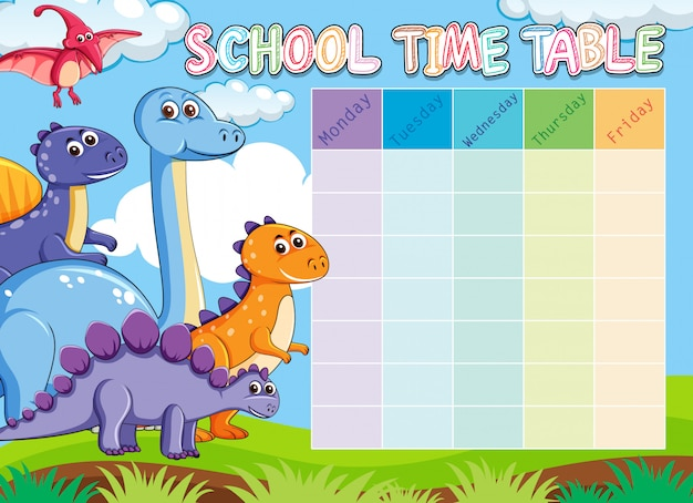 Orario scolastico dei dinosauri con animali