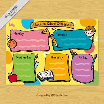 Orario scolastico disegnati a mano con elementi