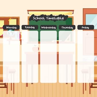 Orario scolastico sul cartone animato dell'aula