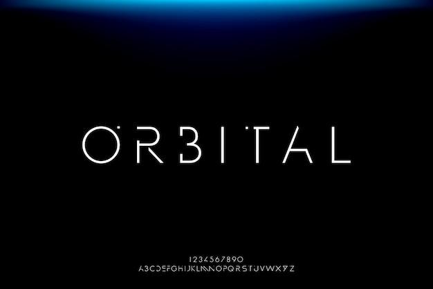 Orbitale, un carattere futuristico astratto alfabeto con tema tecnologia. moderno design tipografico minimalista