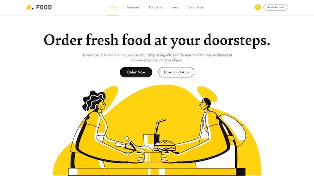 Ordina cibo fresco a portata di mano design della pagina di destinazione con courier man
