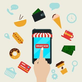 Ordinazione di fast food online da smart phone