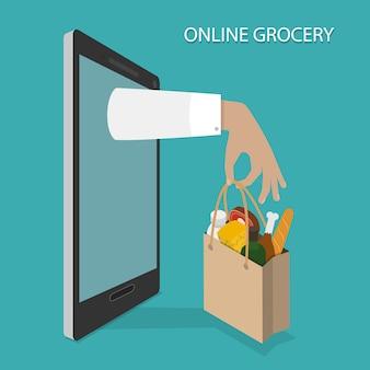 Ordinazione di generi alimentari online, consegna.