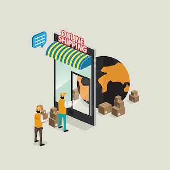 Ordine di consegna da internet mobile con il concetto isometrico