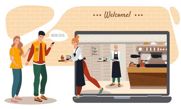 Ordine online della caffetteria e del forno, illustrazione del catoon di servizio di distribuzione di giovani coppie con lo smartphone.