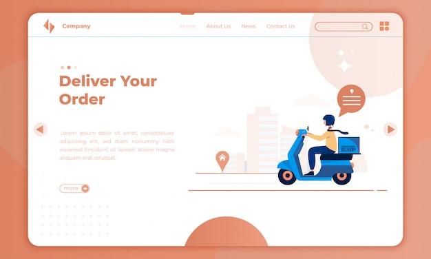 Ordini di consegna design piatto nella pagina di destinazione
