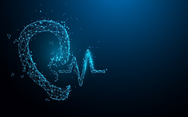 Orecchio e suono dal disegno di linee particellari