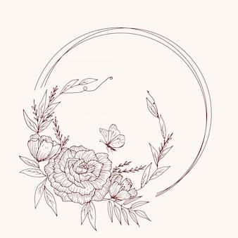 Organico disegnato a mano carta floreale disegno vettoriale giardino fiore lavanda rosa anemone bianco eucalipto timo foglie verde elegante, bacca, stampa bouquet foresta.