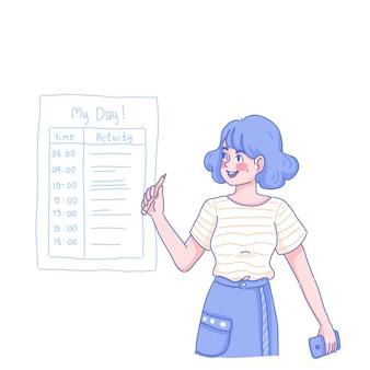 Organizzatore di attività e ragazza