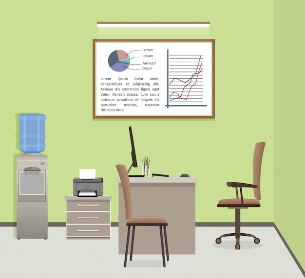 Organizzazione dell'area di lavoro di office. interior design aziendale con mobili e finestre.