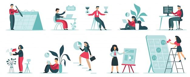 Organizzazione della gestione del tempo. pianificazione delle attività di lavoro d'ufficio, produttività del lavoro, pianificazione dei tempi, set di illustrazioni per la produttività degli impiegati. affari del tempo, gestione dell'ufficio