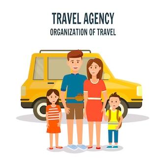 Organizzazione di travel square banner