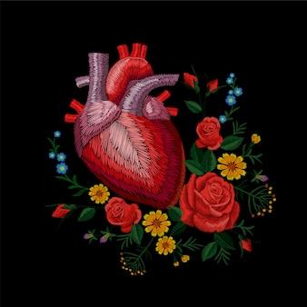 Organo di medicina del cuore anatomico umano di crewel di ricamo