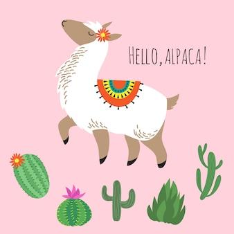 Orgoglioso lama e cactus fantastici