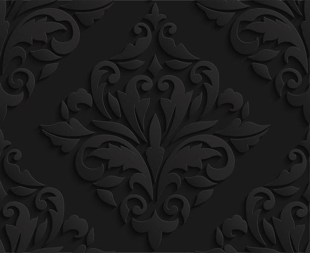 Oriental black 3d damask seamless pattern