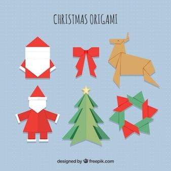 Origami christmas icons