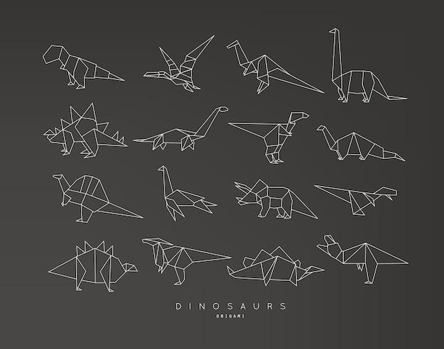 Origami di dinosauro set piatto nero