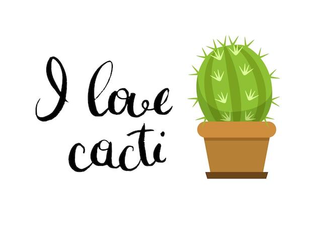 Orizzontale con cactus carino in vaso e lettering in tinta unita