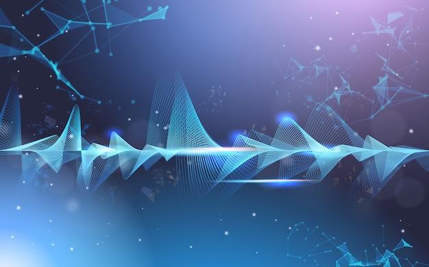 Orizzontale di concetto di tecnologia dell'onda digitale del fondo scuro della barra musicale dell'equalizzatore delle onde di musica
