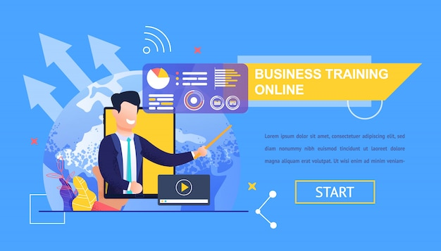 Orizzontale flat banner business training online.