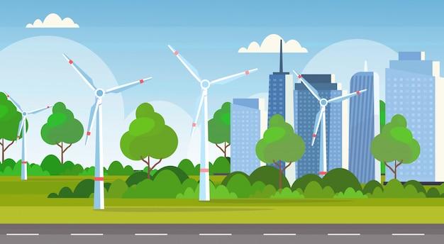 Orizzontale moderno del fondo dell'orizzonte di paesaggio urbano di concetto della stazione rinnovabile pulita di fonte di energia alternativa del campo delle turbine di vento