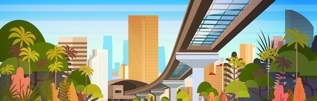 Orizzonte della città con i grattacieli moderni e l'illustrazione orizzontale di vista di paesaggio urbano della strada della ferrovia