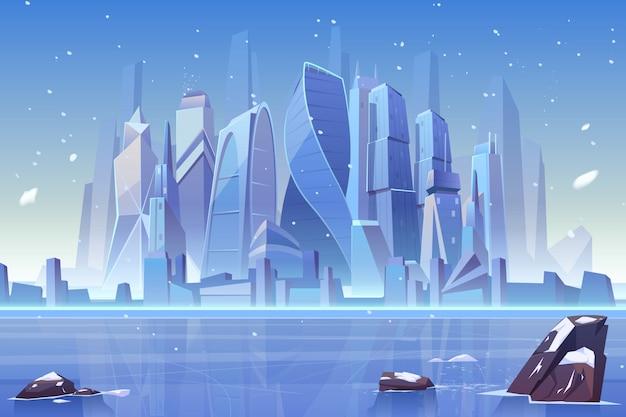 Orizzonte della città di inverno alla baia congelata