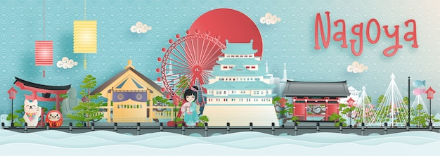 Orizzonte della città di nagoya con punti di riferimento di fama mondiale del giappone
