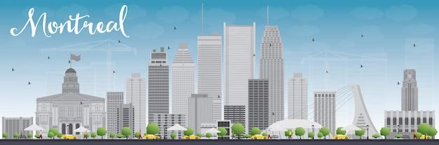 Orizzonte di montreal con edifici grigi e blu cielo