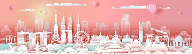 Orizzonte di paesaggio urbano del centro di viaggio dell'asia dei punti di riferimento