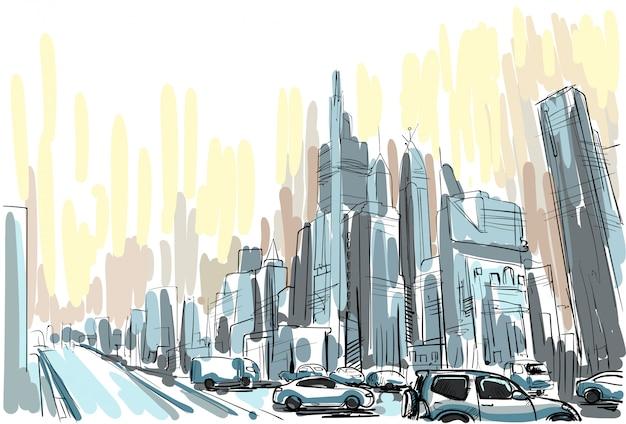 Orizzonte di paesaggio urbano di vista di schizzo del grattacielo della città