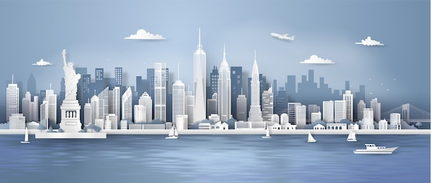 Orizzonte di panorama di new york city