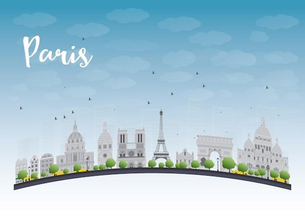 Orizzonte di parigi con punti di riferimento e cielo blu grigi