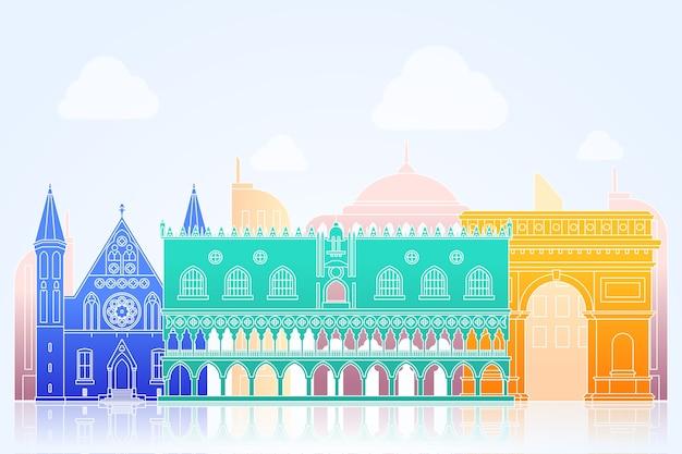 Orizzonte di punti di riferimento di tema colorato