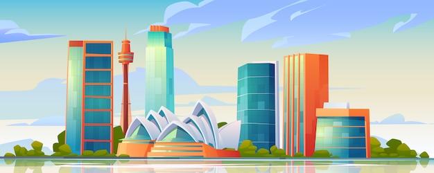 Orizzonte di sydney, australia con la bandiera del teatro dell'opera