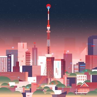 Orizzonte di tokyo gradiente con luci al neon