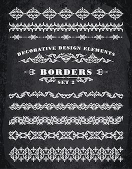 Ornamenti bordi. elementi decorativi di progettazione.